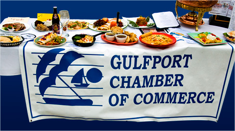 The Gulfport Chamber of Commerce food display during the FOX13 News event